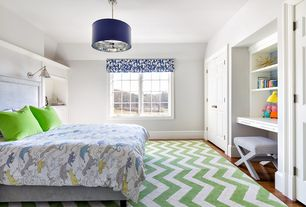 Contemporary Kids Bedroom with no bedroom feature, Pendant light, Hardwood floors, Standard height, picture window, Paint