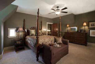 Traditional Master Bedroom with Carpet, Casement, Standard height, Built-in bookshelf, Ceiling fan, flush light, flat door