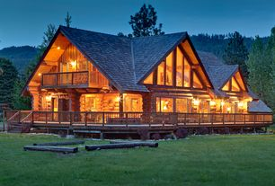 Rustic Exterior of Home with Wrap around porch, Wood railing
