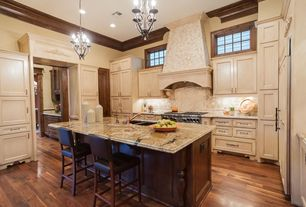 Traditional Kitchen with Breakfast bar, Imagio home lofts bar stool, Chandelier, Undermount sink, U-shaped, Custom hood