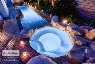 Rustic Swimming Pool with exterior concrete tile floors, Pool with hot tub, exterior tile floors, Fence
