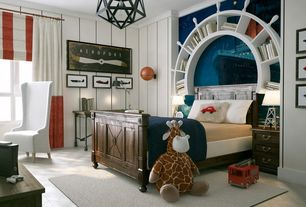 Contemporary Kids Bedroom with Casement, flush light, Crown molding, Standard height, Interlocking Pavers, no bedroom feature