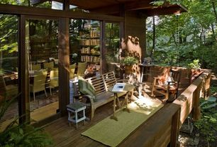 Rustic Deck with sliding glass door, Covered deck