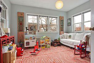 Contemporary Playroom with flush light, Built-in bookshelf, Carpet