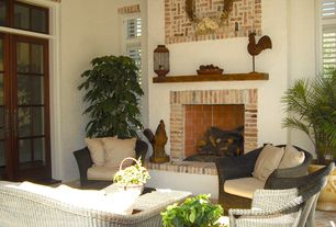 Country Porch with Screened porch, Casement, exterior brick floors, French doors, Transom window
