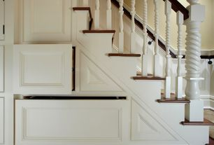 Traditional Staircase with Wainscotting, Hardwood floors
