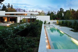 Contemporary Swimming Pool with Raised beds, Lap pool, Fence