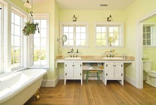 "Country Master Bathroom with Travertine counters, Hardwood floors, Sutton 10 1/4"" High Polished Nickel Wall Sconce, Clawfoot"