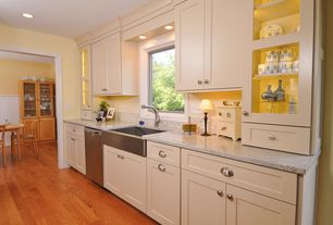 Eclectic Kitchen with Breakfast nook, Flat panel cabinets, Ceramic Tile, Farmhouse sink, Simple granite counters, L-shaped