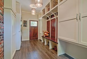 Contemporary Mud Room with Standard height, Pendant light, Crown molding, Built-in bookshelf, Glass panel door, Paint 1