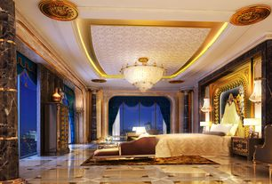 Art Deco Master Bedroom with Crown molding, Wall sconce, Polished marble tile, onyx tile floors, Marble column with gold trim