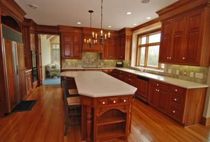 Traditional Kitchen with Breakfast bar, Inset cabinets, Undermount sink, Built-in bookshelf, electric cooktop, U-shaped