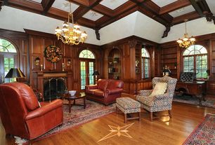 Craftsman Home Office with High ceiling, Chandelier, flush light, Arched window, Box ceiling, Hardwood floors, French doors