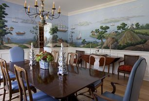 Traditional Dining Room with Chair rail, Chandelier, Wainscotting, interior wallpaper, Crown molding, Hardwood floors