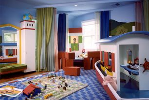 Eclectic Playroom with Exposed beam, Hardwood floors