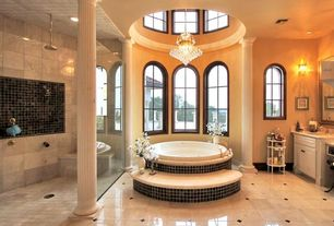 Traditional Master Bathroom with partial backsplash, Arched window, Wall Tiles, Chandelier, Shower, Flush, Raised panel