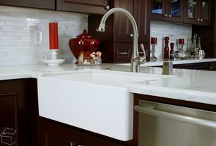 Modern Kitchen with MS International-Greecian White Interlocking 12 in. x 12 in. x 10 mm Polished Marble Mesh-Mounted Mo