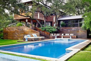 Contemporary Swimming Pool with exterior stone floors, French doors, Pathway, Casement, Pool with hot tub, Deck Railing