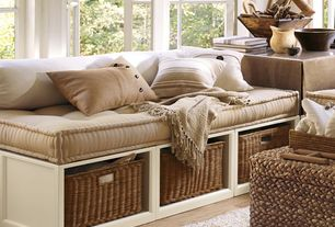 Cottage Living Room with Upholstered daybed mattress, Stratton storage platform daybed with baskets, Neutral color scheme