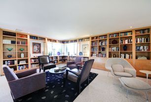 Modern Living Room with Built-in bookshelf, Carpet