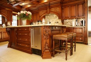 Traditional Kitchen with Complex Granite, Ceiling fan, Wine refrigerator, Raised panel, Custom hood, Box ceiling, Flush
