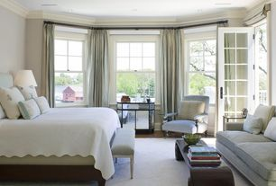 Traditional Master Bedroom with Glass panel door, Hardwood floors, Traditions linen ivone scalloped coverlet, Crown molding