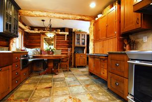 Rustic Kitchen with Glass panel, Breakfast nook, gas range, Simple granite counters, Stone Tile, can lights, Flush, wall oven