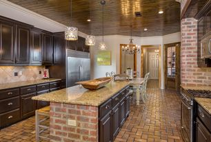 Traditional Kitchen with Stone Tile, Brick floors, Complex granite counters, Crown molding, U-shaped, Pendant light