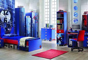 Eclectic Kids Bedroom with no bedroom feature, High ceiling, picture window, Built-in bookshelf, Hardwood floors