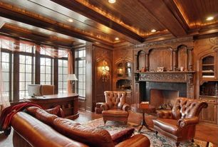Traditional Home Office with Fireplace, other fireplace, Exposed beam, Built-in bookshelf, Casement, Laminate floors