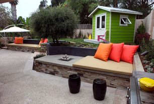 Contemporary Patio with Raised beds, Fence, exterior stone floors, Fire pit, Glass panel door