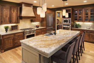Craftsman Kitchen with Custom hood, Farmhouse sink, Ventahood jdhc2 magic custom range hood, L-shaped, Standard height