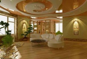 Contemporary room with Built-in bookshelf, Hardwood floors, Chandelier