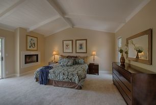 Traditional Master Bedroom with Exposed beam, French doors, High ceiling, Stein World Twist Candlestick Table Lamp, Carpet
