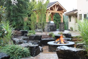 Rustic Patio with Fire pit, Outdoor kitchen, Gazebo, Pathway, exterior stone floors