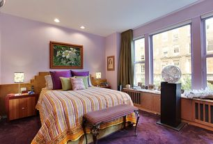 Eclectic Master Bedroom with Wainscotting, double-hung window, Carpet, can lights, Standard height