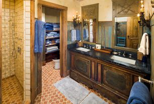 Country Master Bathroom with VINTAGE PRESSURE BALANCE SHOWER SYSTEM WITH WALL SHOWER HEAD - LUXURY HAND SHOWER - LEVER HANDLE
