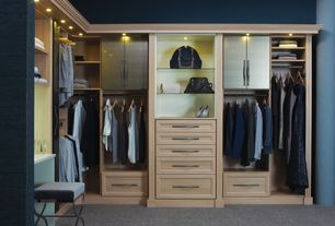 Contemporary Closet with interior wallpaper, Carpet