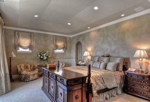 Mediterranean Master Bedroom with Carpet, interior wallpaper, Crown molding