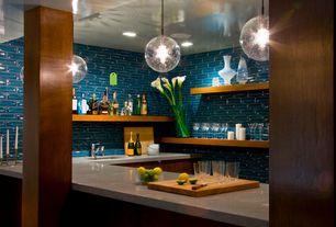 Contemporary Bar with Columns, Ann sacks asc modern tile, Caesarstone shitake quartz countertop, Pendant light