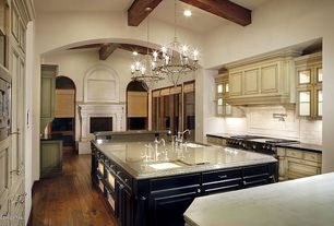 Traditional Kitchen with Pot filler faucet, Exposed beam, Ms international - azurite granite, Custom hood, Kitchen island