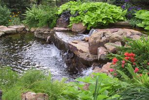 Rustic Landscape/Yard with Fountain, exterior stone floors, Pond