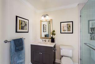 Traditional 3/4 Bathroom with Complex marble counters, Complex Marble, Arizona Tile Crema Vosscione 4x4 Tumbled Stone, Flush
