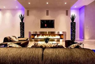 Modern Living Room with Fireplace, Paint, can lights, metal fireplace, Standard height, Laminate floors
