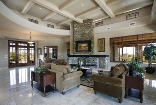 Craftsman Living Room with High ceiling, Fireplace, Carpet, can lights, simple granite floors, Box ceiling, stone fireplace