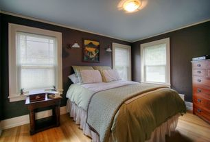 Craftsman Guest Bedroom with Hardwood floors, Cherry Hill 7-Drawer Chest, Crown molding, flush light, Wall sconce