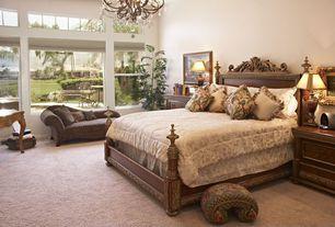 Mediterranean Guest Bedroom with interior wallpaper, Carpet, Chandelier