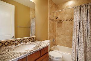 Mediterranean Full Bathroom with Simple granite counters, Simple Granite, Towel warmer, flat door, Bathtub, Wall Tiles, Flush