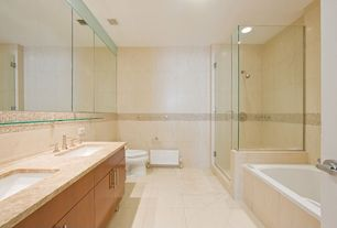 Contemporary Master Bathroom with Complex granite counters, Undermount sink, Master bathroom, Wall Tiles, Bathtub, Shower