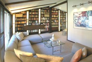 Contemporary Living Room with Exposed beam, Glass panel door, Carpet, Mural, Wall sconce